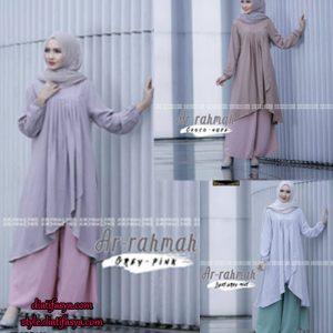 Setelan baju muslim model tunik